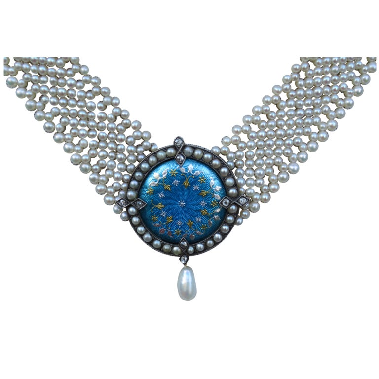 Blue Enamel, Pearl, and Diamond Centerpiece with Pearl Necklace by Marina J