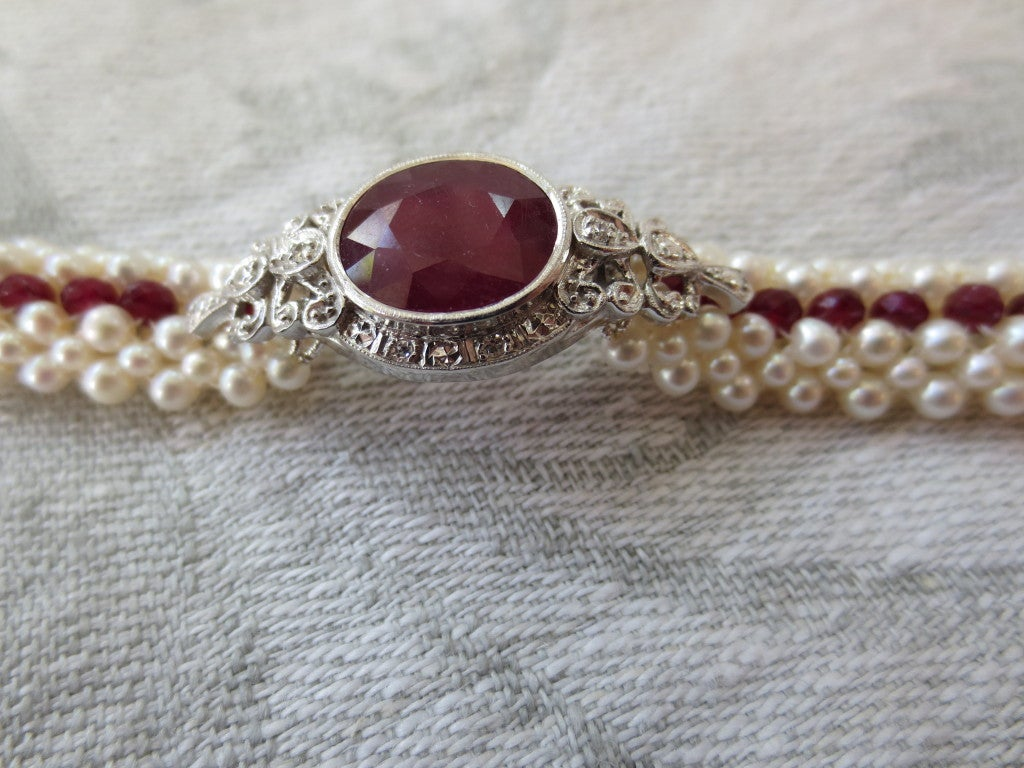 Ruby And Woven Pearl Bracelet 2