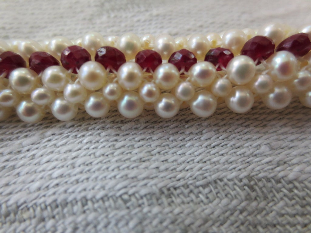 Ruby And Woven Pearl Bracelet 3