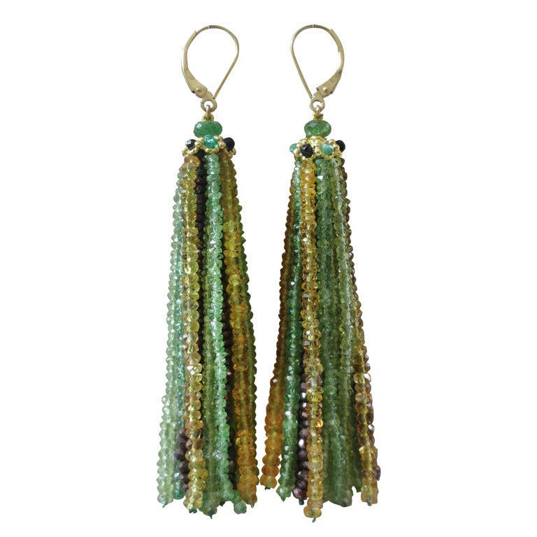 """Green Eye"" Tsavorite, Peridot & Citrine Tassel Earrings 1"