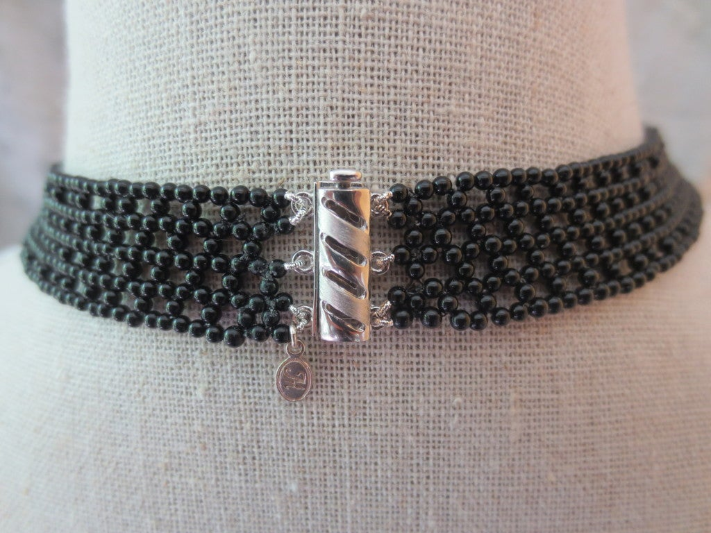 Woven Multi-Strand Onyx Bead Necklace with Sliding Silver Clasp 3