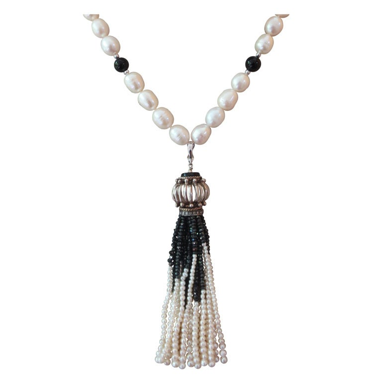 Pearl and Onyx Beaded Lariat Necklace with Black Spinel and Pearl Tassel
