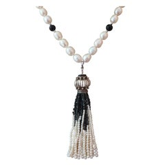 Marina J Pearl and  Onyx Lariat Necklace with Black Spinel and Pearl Tassel