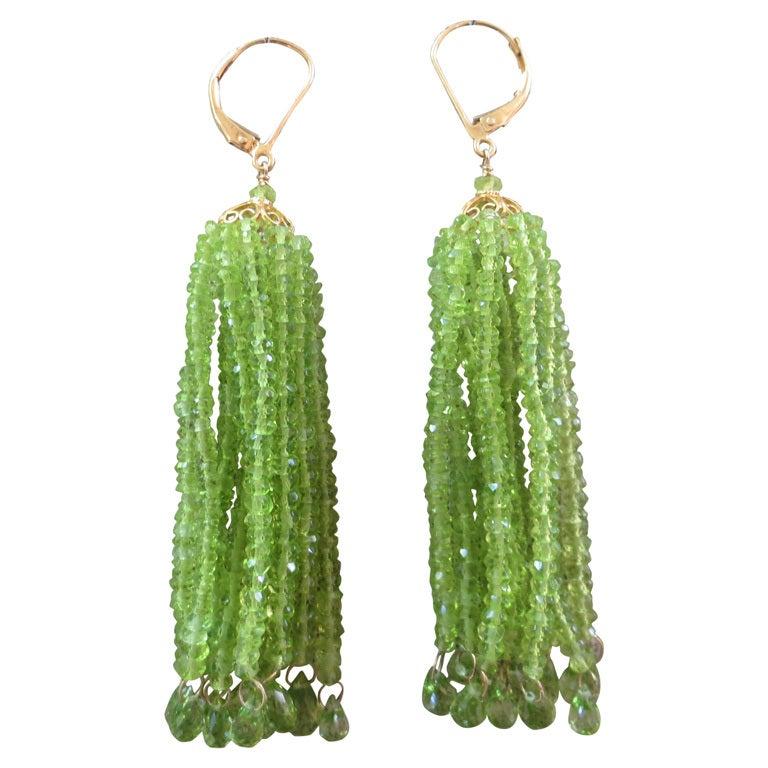 Elegant Green Peridot Tassel Earrings 1