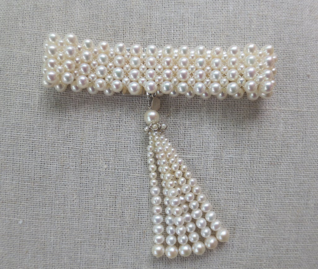 1920's Inspired Woven Pearl Bracelet With Graduated Pearl Tassel 2