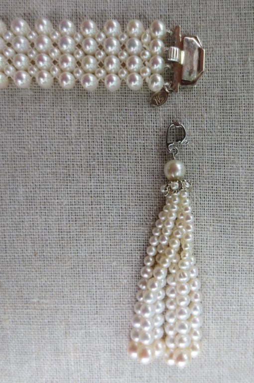 1920's Inspired Woven Pearl Bracelet With Graduated Pearl Tassel 3