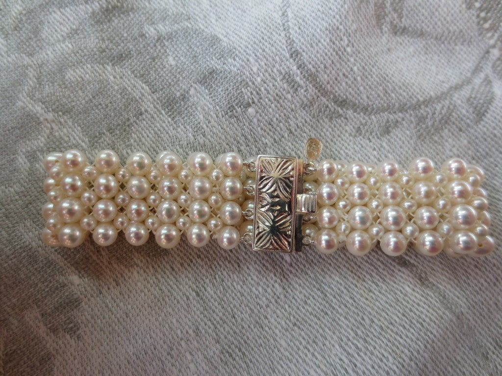 1920's Inspired Woven Pearl Bracelet With Graduated Pearl Tassel 5