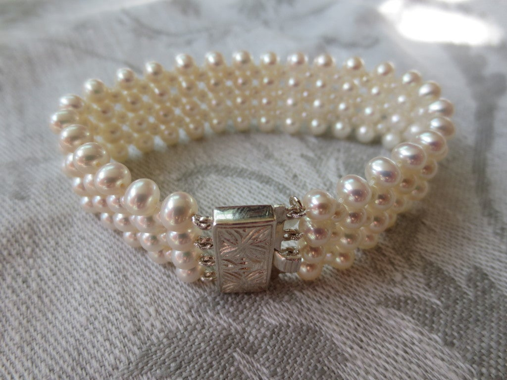 1920's Inspired Woven Pearl Bracelet With Graduated Pearl Tassel 6