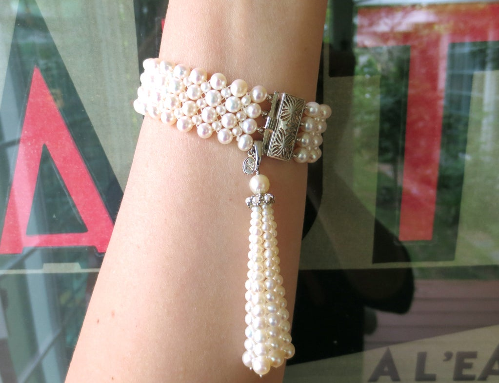 1920's Inspired Woven Pearl Bracelet With Graduated Pearl Tassel 8