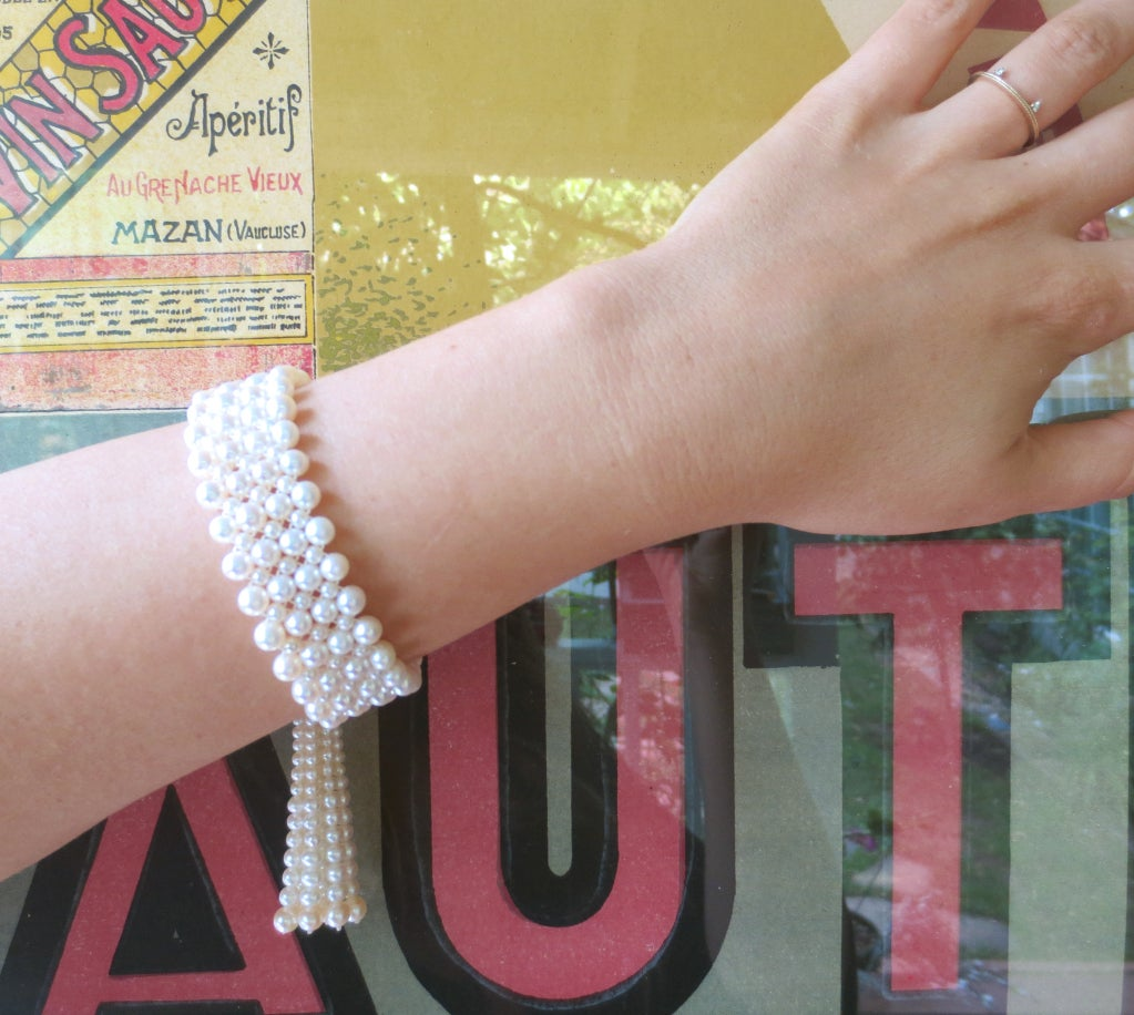 1920's Inspired Woven Pearl Bracelet With Graduated Pearl Tassel 9