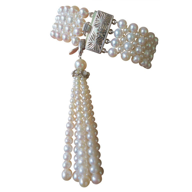 1920's Inspired Woven Pearl Bracelet With Graduated Pearl Tassel 1
