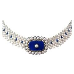 Marina J. Woven Pearl, Lapis Lazuli, Enamel, Gold Necklace