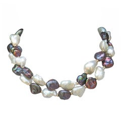Large Black and White Baroque Pearl Necklace