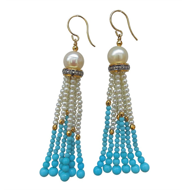 pearl gold and turquoise tassel earrings at 1stdibs