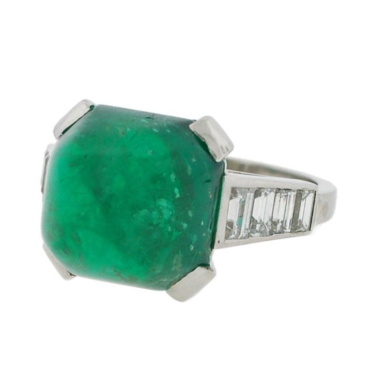 deco cabochon emerald and platinum ring at 1stdibs