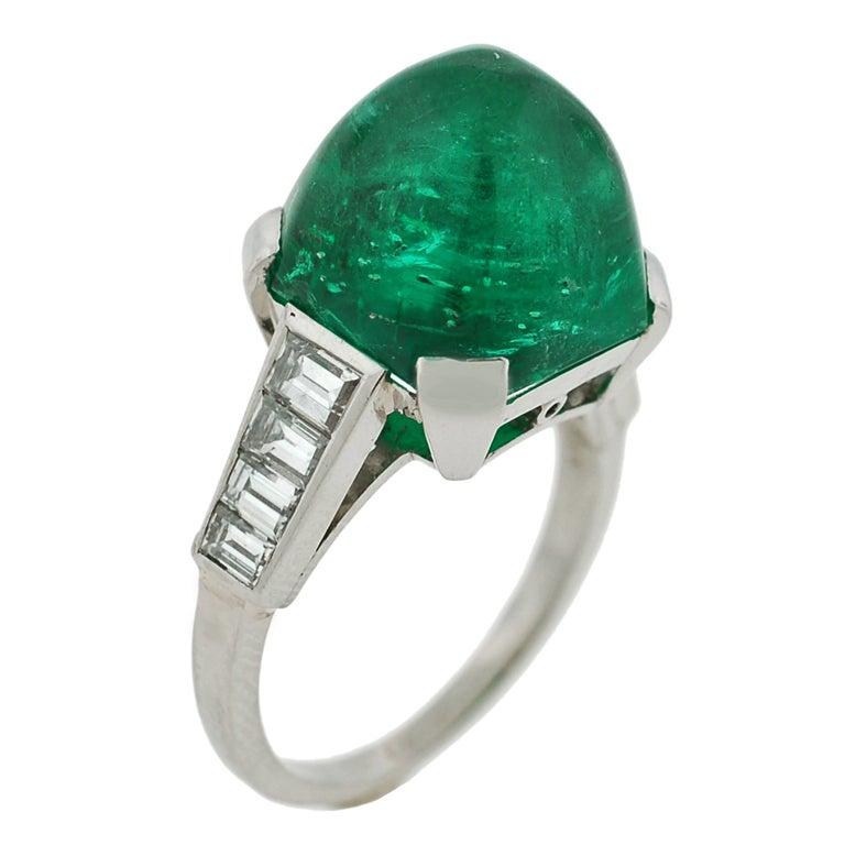 deco cabochon emerald platinum ring