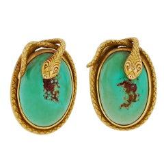 Art Nouveau Snake Turquoise & Gold Cufflinks