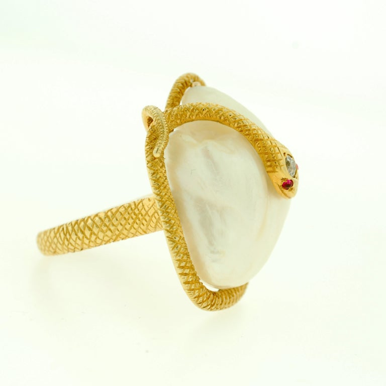 Victorian Large Natural Pearl & Diamond Gold Snake Ring image 2