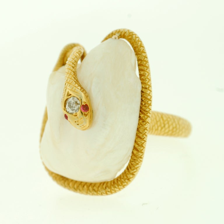 Victorian Large Natural Pearl & Diamond Gold Snake Ring image 4