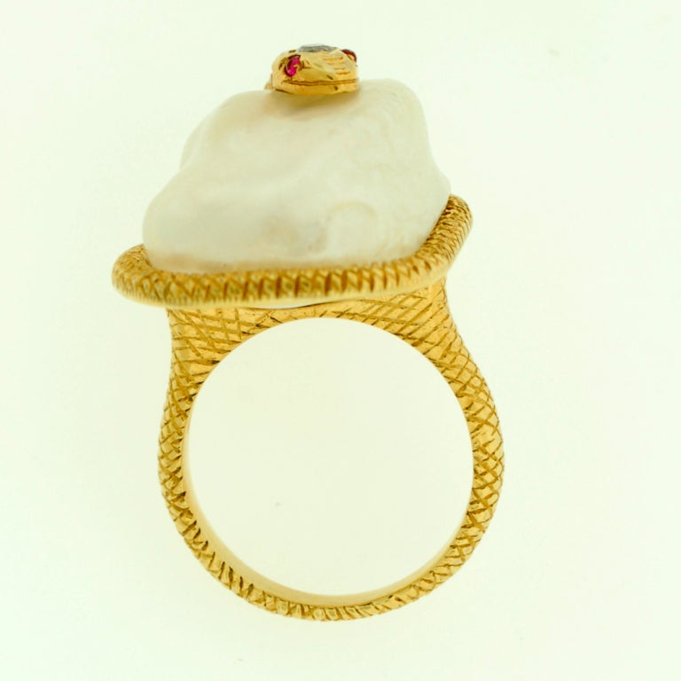 Victorian Large Natural Pearl & Diamond Gold Snake Ring image 5