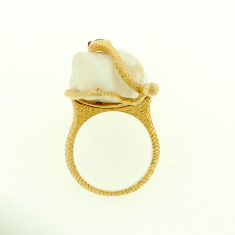 Victorian Large Natural Pearl & Diamond Gold Snake Ring image 6