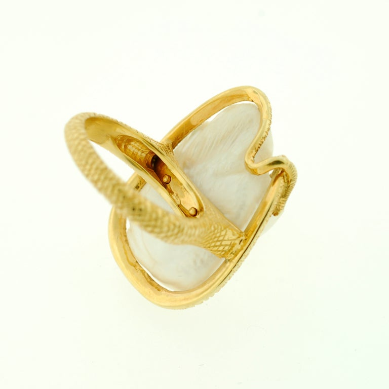Victorian Large Natural Pearl & Diamond Gold Snake Ring image 7