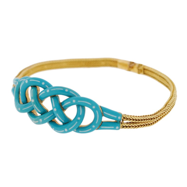 Victorian Enameled Double Love Knot Gold Bracelet image 2