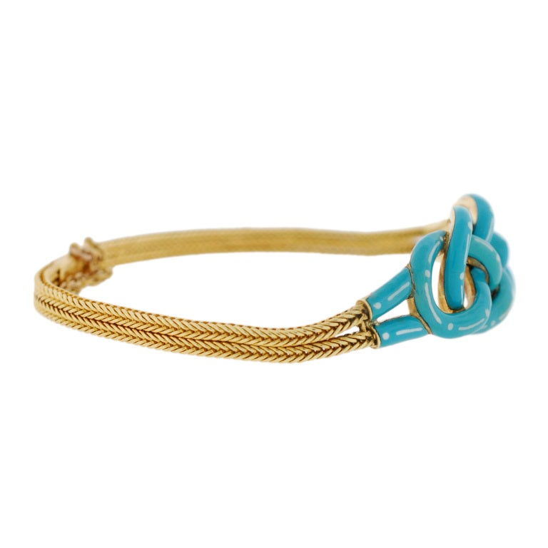 Victorian Enameled Double Love Knot Gold Bracelet image 3