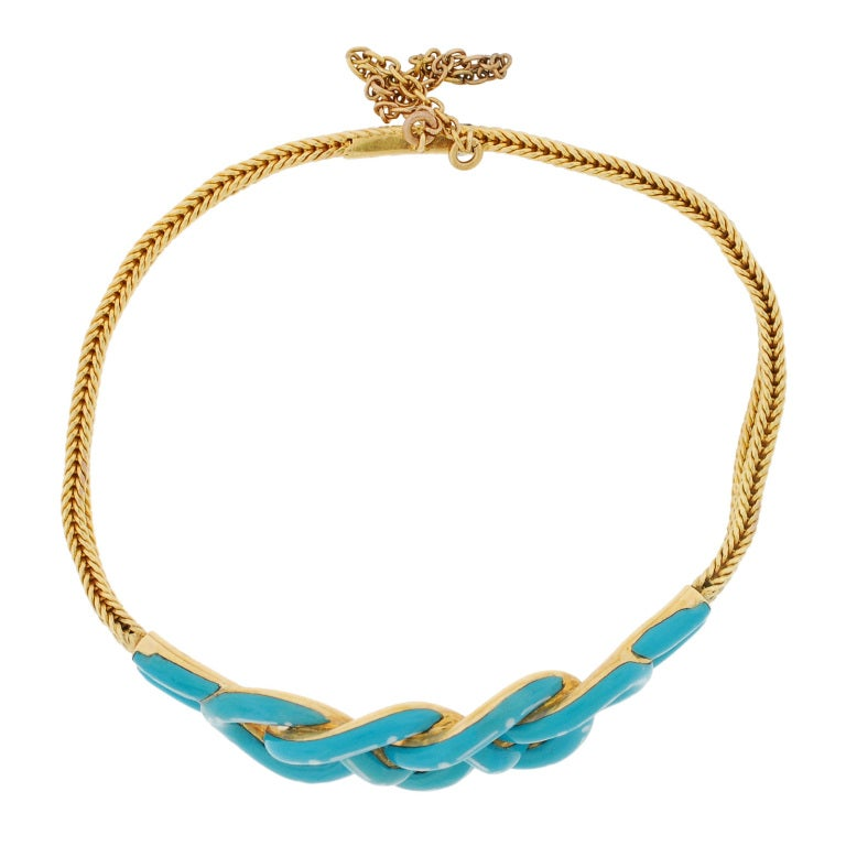 Victorian Enameled Double Love Knot Gold Bracelet image 4