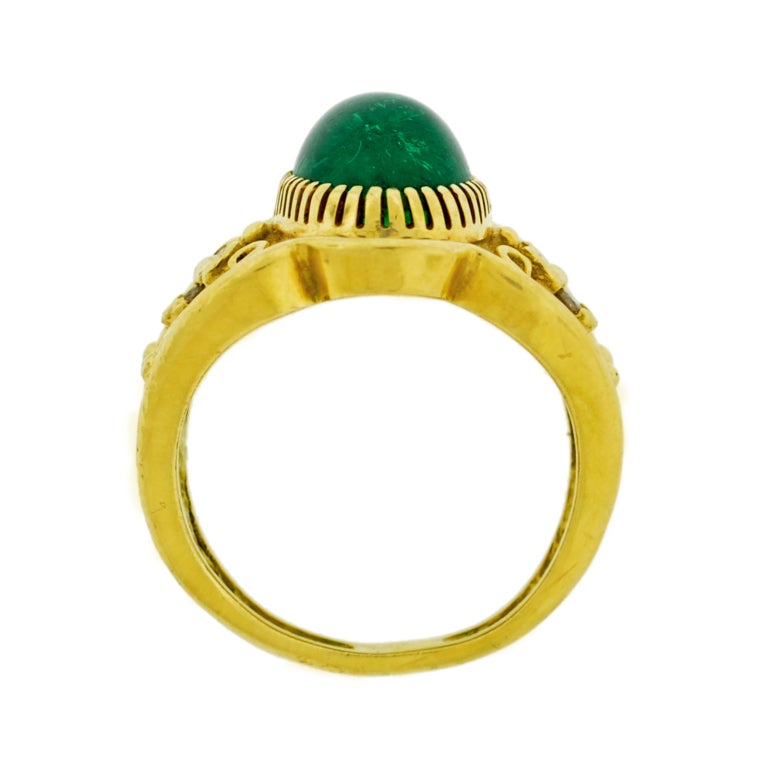 contemporary cabochon emerald and gold ring at 1stdibs