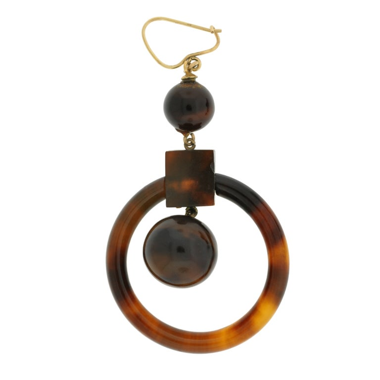 Now a banned material, Antique tortoise shell jewelry has become very collectable. These hoop earrings, in particular, are simply wonderful and from the Victorian (ca1880) era! Each begins with a tortoise shell ball surmount, which is attached to