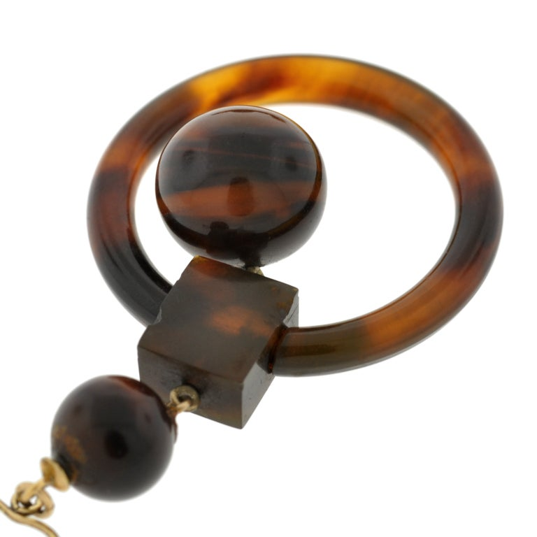 Victorian Tortoise Shell Gold Hoop Earrings 3