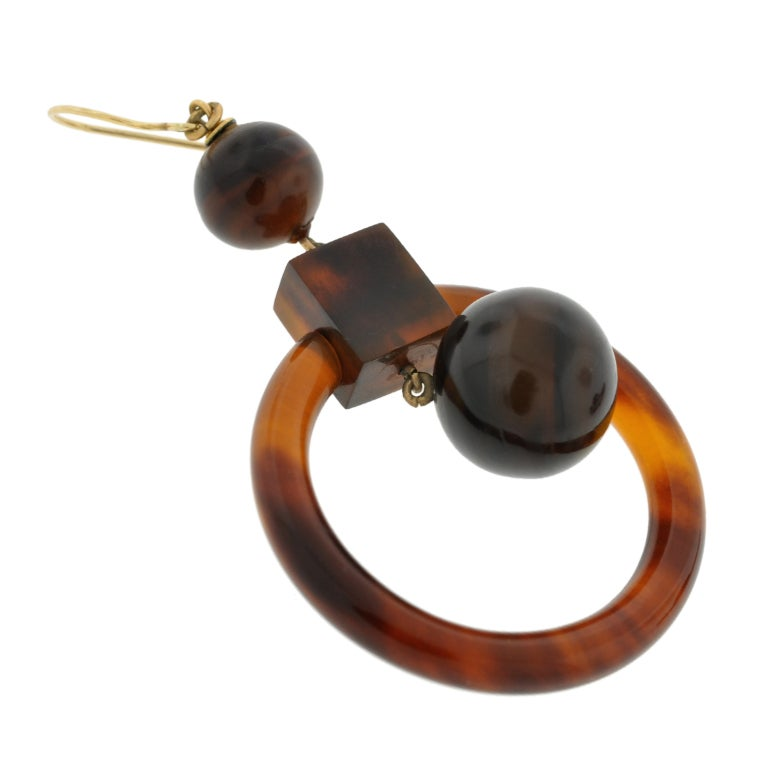 Victorian Tortoise Shell Gold Hoop Earrings 1