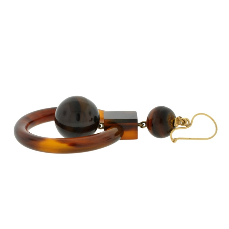 Victorian Tortoise Shell Gold Hoop Earrings 2