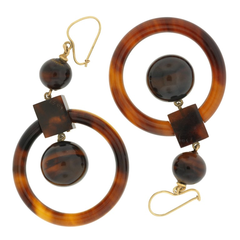 Victorian Tortoise Shell Gold Hoop Earrings 7