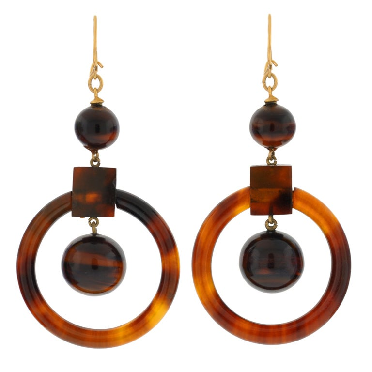 Victorian Tortoise Shell Gold Hoop Earrings 1