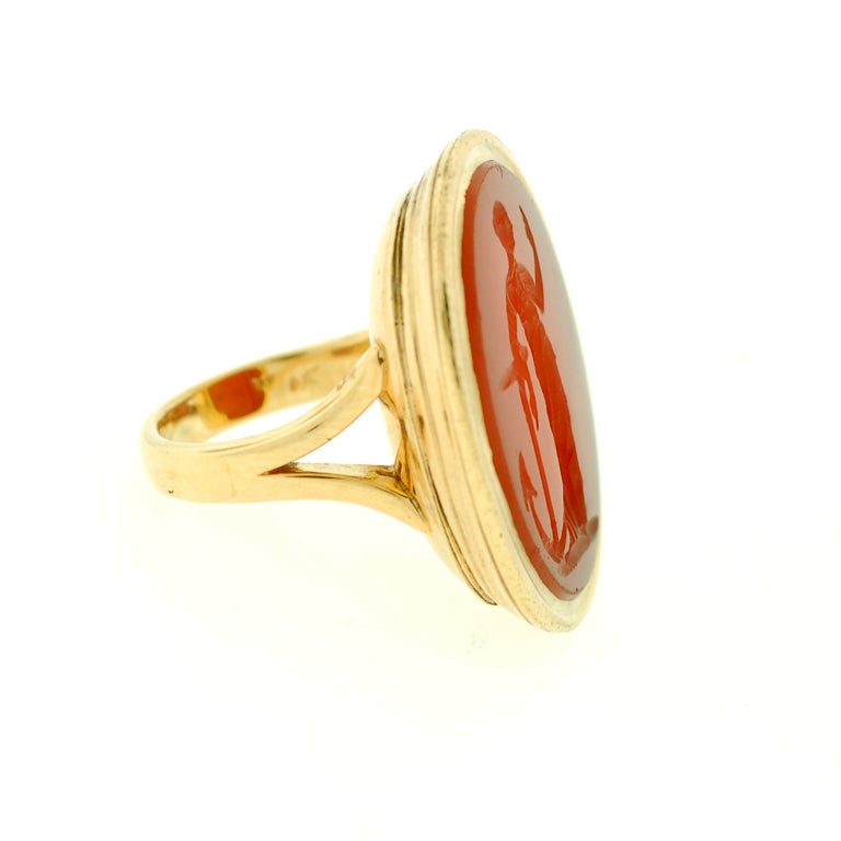 Victorian Large Carved Carnelian & Gold Lady Hope Intaglio Ring 2