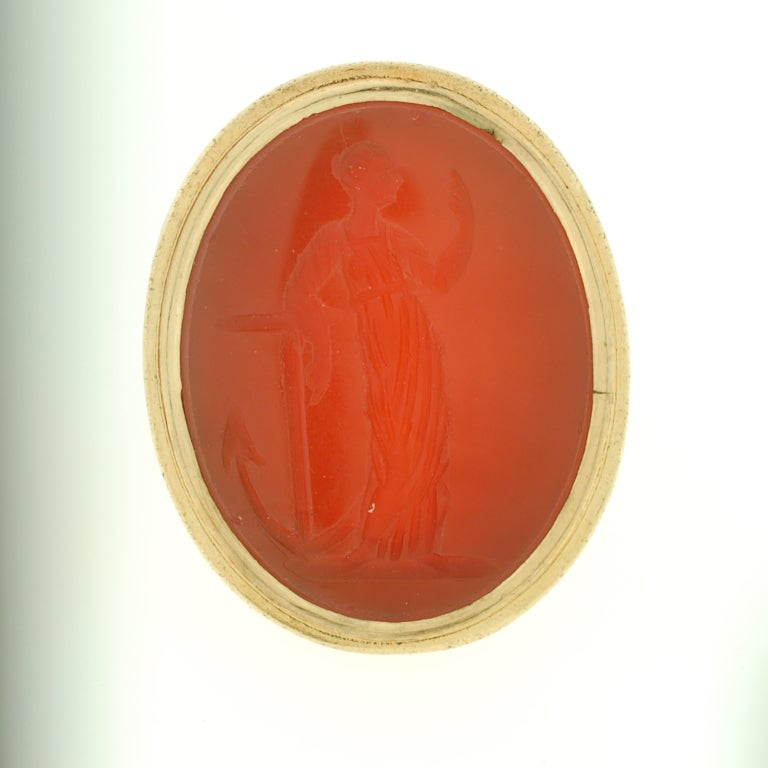 Victorian Large Carved Carnelian & Gold Lady Hope Intaglio Ring 3