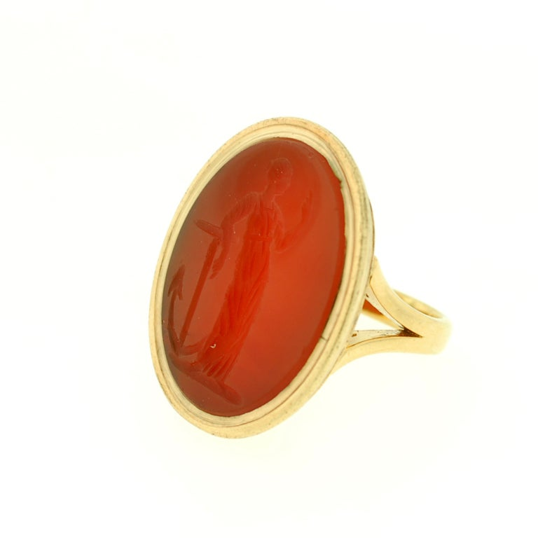 Victorian Large Carved Carnelian & Gold Lady Hope Intaglio Ring 4