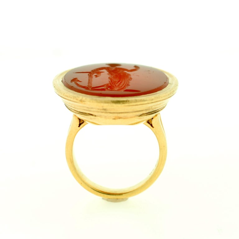 Victorian Large Carved Carnelian & Gold Lady Hope Intaglio Ring 5