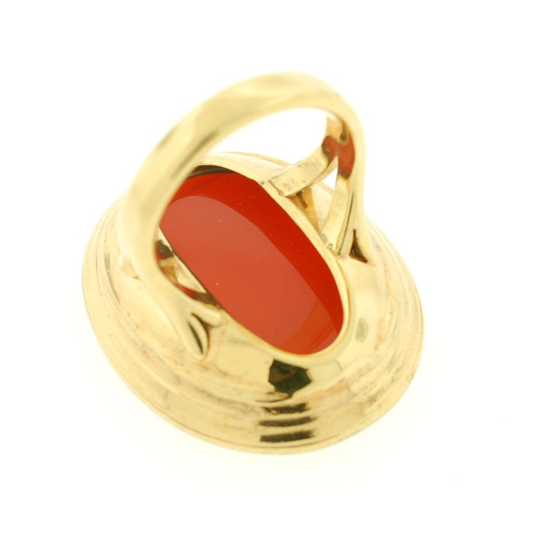 Victorian Large Carved Carnelian & Gold Lady Hope Intaglio Ring 6
