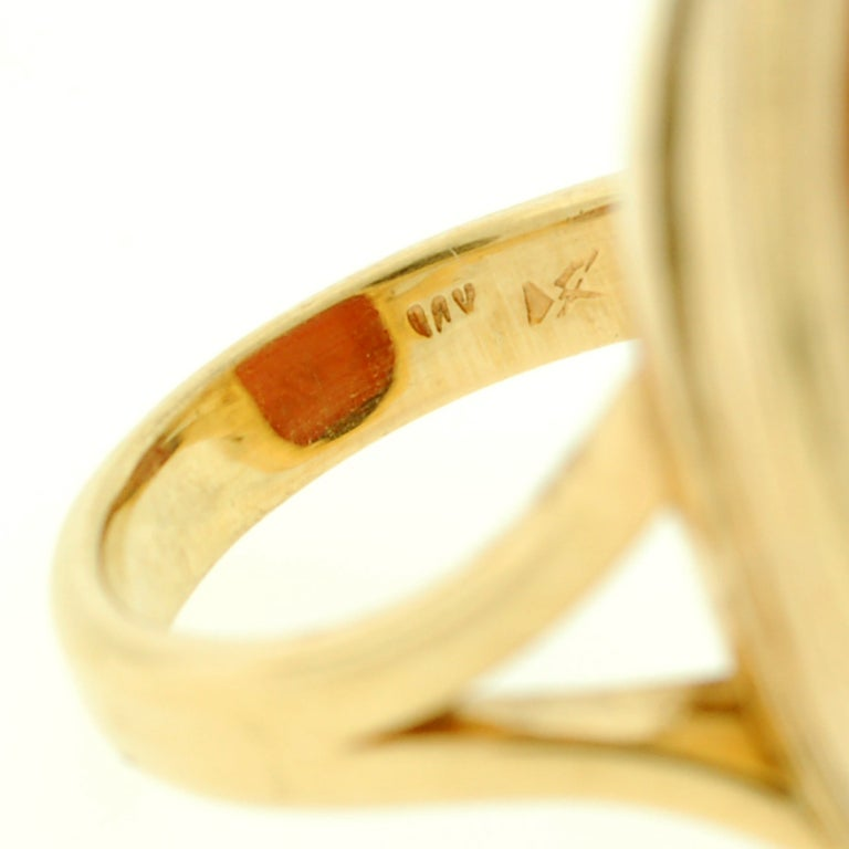 Victorian Large Carved Carnelian & Gold Lady Hope Intaglio Ring 7