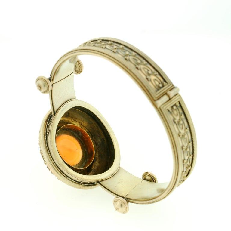 Victorian Etruscan Wirework & Carnelian Gold Bracelet 6