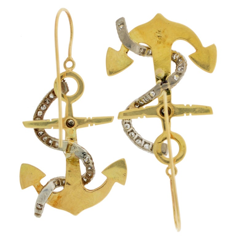 retro nautical and gold anchor earrings at 1stdibs