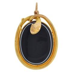 Victorian Banded Agate Gold Snake Locket
