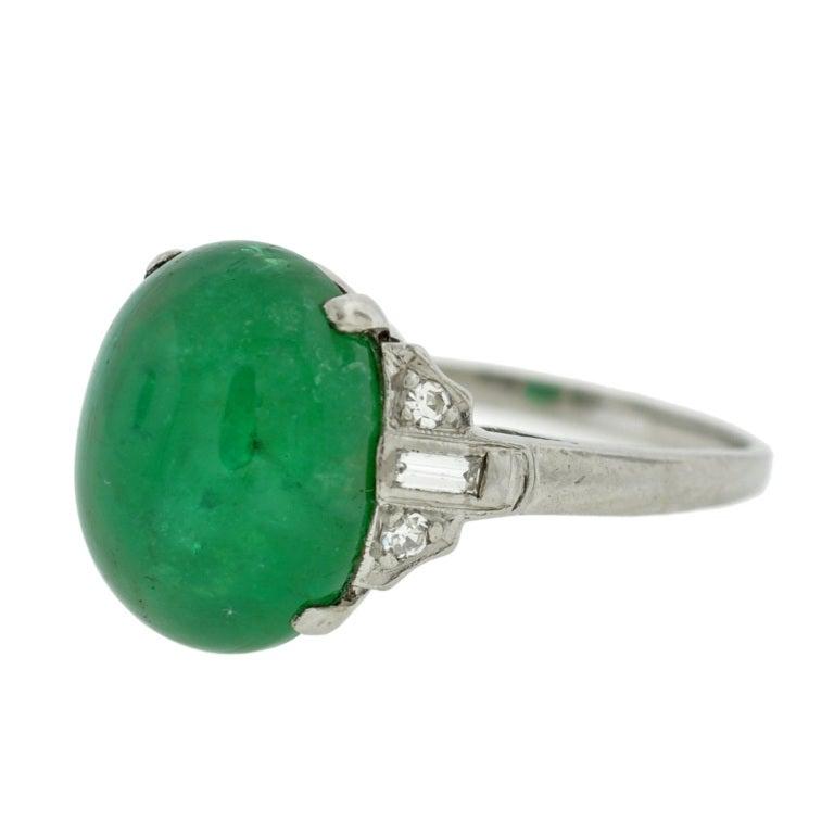 deco cabochon emerald and platinum ring 5 68ct