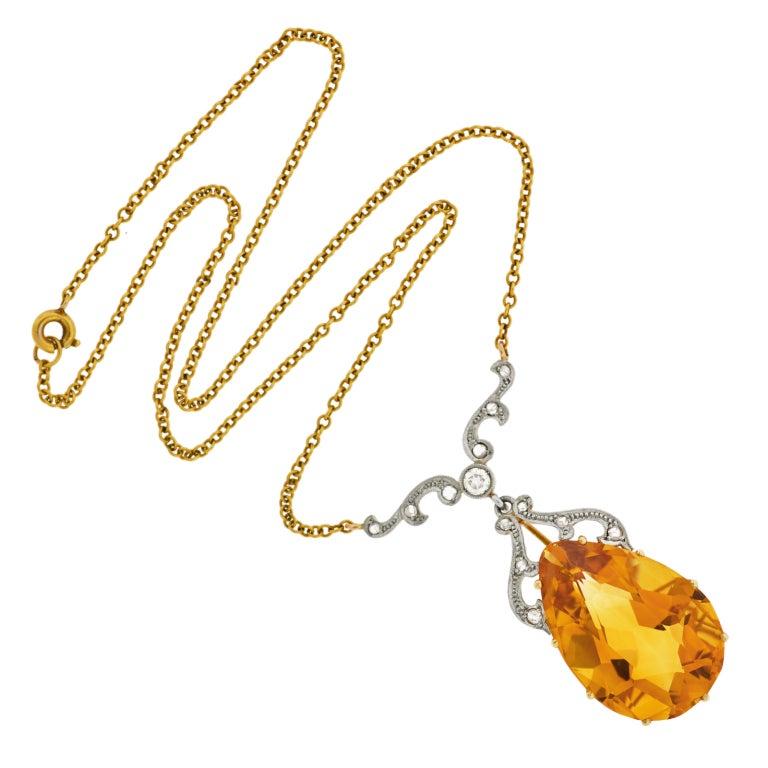 Late Art Deco Citrine Drop & Diamond Gold Necklace 2