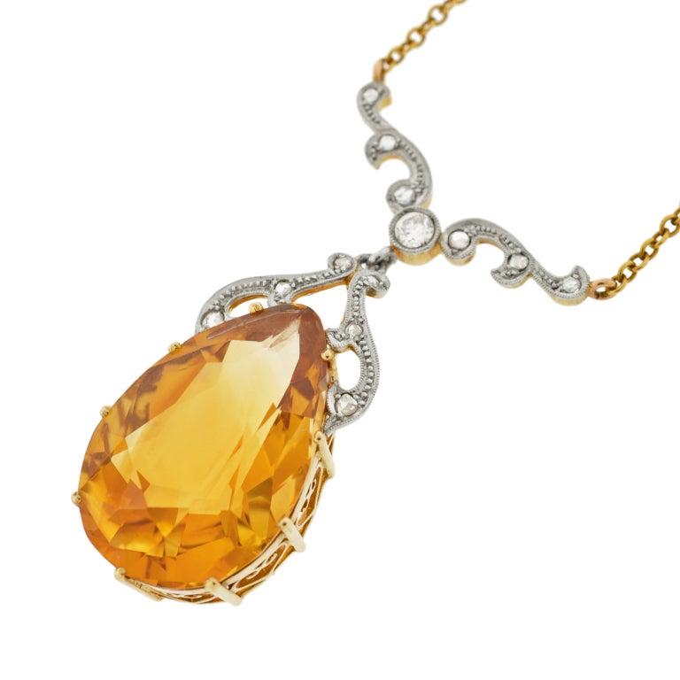 Late Art Deco Citrine Drop & Diamond Gold Necklace 3