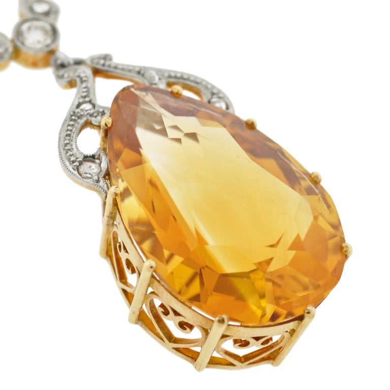 Late Art Deco Citrine Drop & Diamond Gold Necklace 4