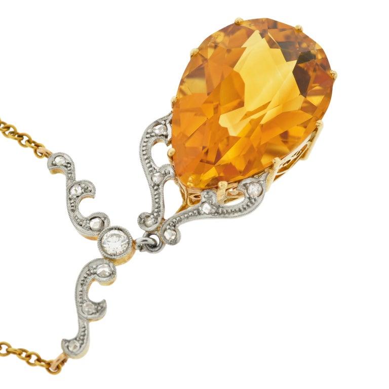 Late Art Deco Citrine Drop & Diamond Gold Necklace 5